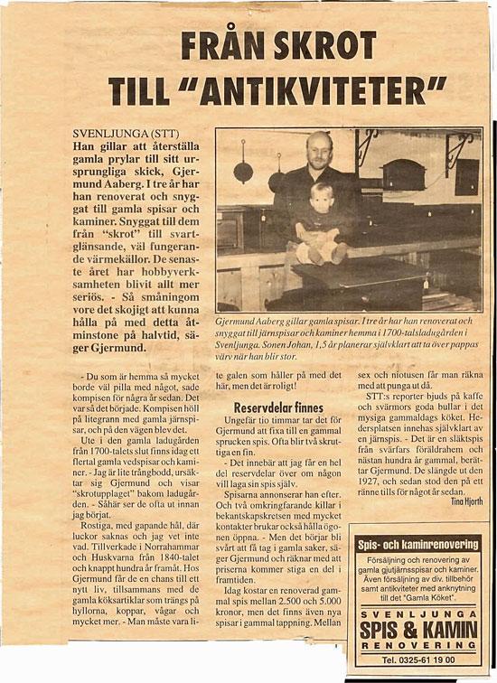 Den första artikeln som skrevs om oss i gratistidningen Svenljunga & Tranemo Tidning